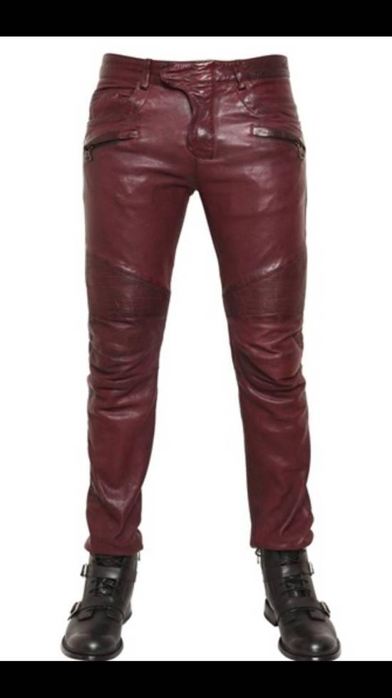 Balmain Balmain Burgundy Lamb Leather Biker Pants Size: 28-XS Size US 28 / EU 44 - 2