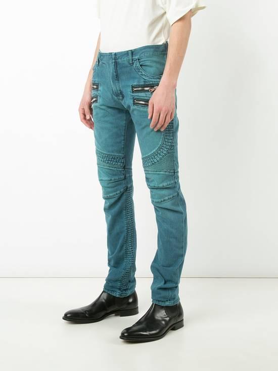 Balmain Turquoise Double Zip Biker Jeans Size US 34 / EU 50 - 2