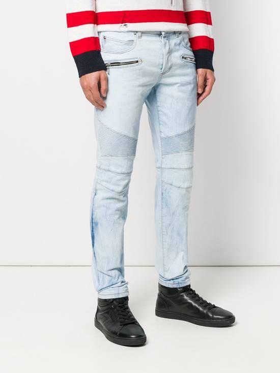 Balmain Light Blue Biker Jeans Size US 34 / EU 50 - 2