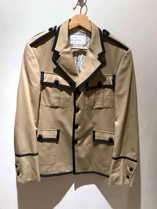 Thom Browne GROSGRAIN TRIMMED BEIGE MILITARY OFFICER JACKET Size 48R