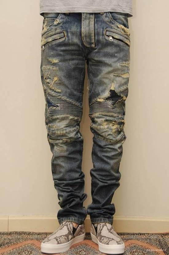 Balmain Destroyed Biker Jeans Size US 27 - 6