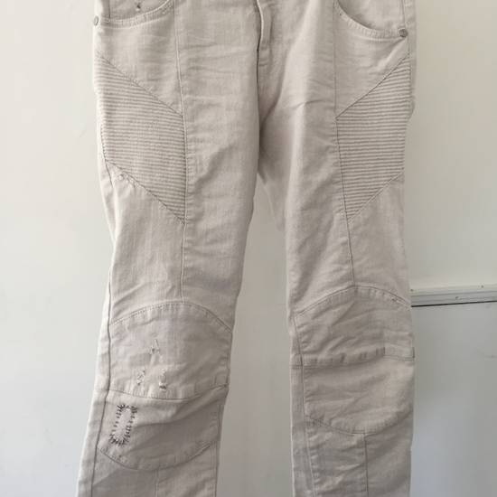 Balmain Distressed off-white biker jeans (NWT) Size US 31 - 4