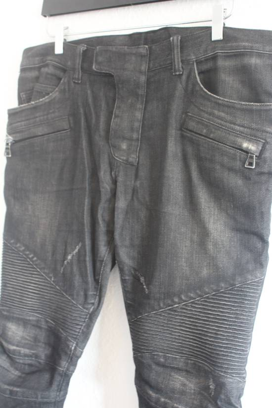 Balmain AW12 Iconic Black Distressed Oiled Skinny Biker Size US 33 - 3