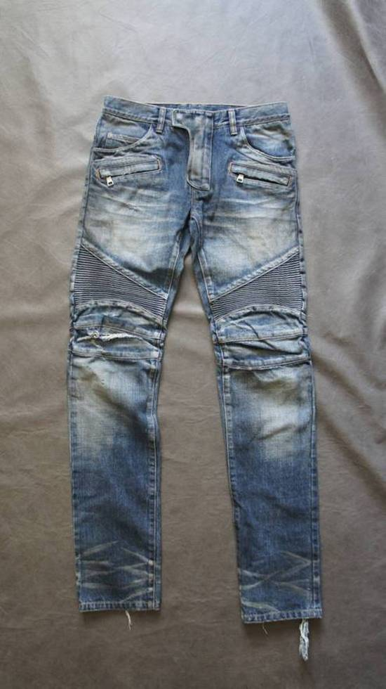 Balmain New! MIJ distressed selvage pleated bikers Size US 29