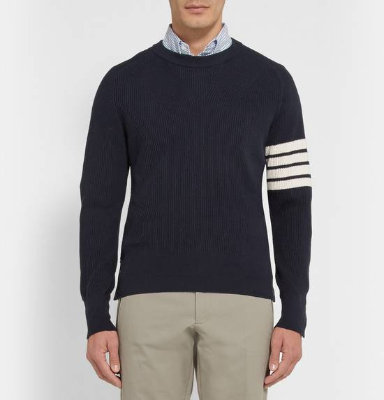 Thom Browne Blue Striped Ribbed-Knit Cotton Sweater Size US M / EU 48-50 / 2