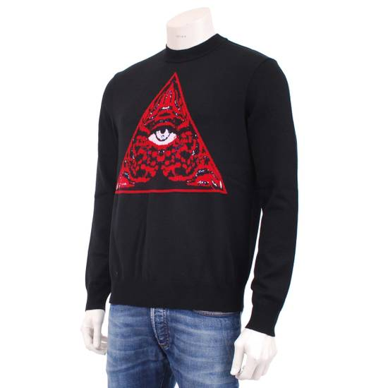 Givenchy Black Wool Knit Sweater With Red 'Eye of Providence' on front Size US L / EU 52-54 / 3 - 2