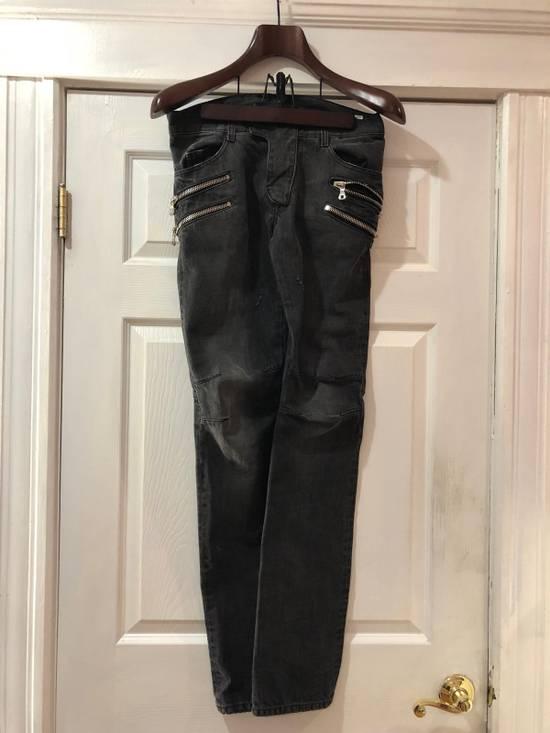 Balmain Balmain Oliver Era Biker Jeans In A Wash Grey Size US 29