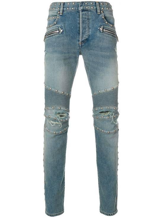Balmain Balmain Studded Distressed Skinny Moto Jeans Size US 32 / EU 48