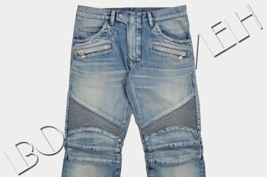 Balmain Slim Signature Light Blue Biker Jeans Size US 29 - 2