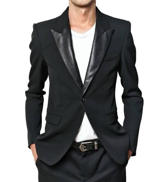 Balmain RARE $4k+ SS12 Balmain Black Perforated Leather Peak Lapel Jacket Blouson 50 48 Size 40R - 1