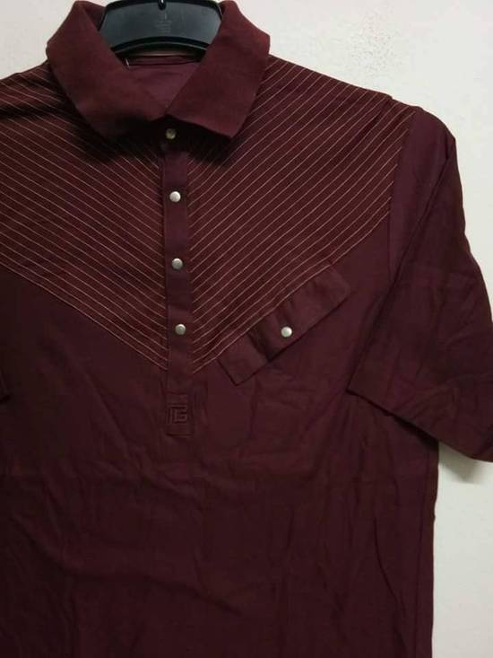 Balmain Stripes Maroon Polo Shirt Size US S / EU 44-46 / 1 - 1