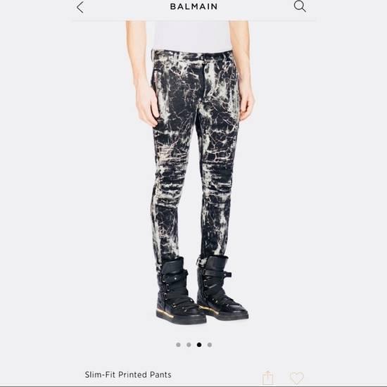 Balmain OG skinny-fit marble biker jeans by Balmain Size US 29 - 1