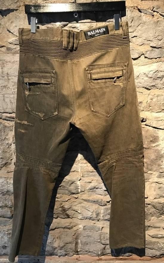 Balmain Balmain khaki destroyed biker jeans Size US 33 - 3
