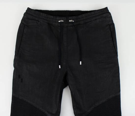 Balmain Black Waxed Denim Biker Sweat Track Pants Size US 36 / EU 52 - 1