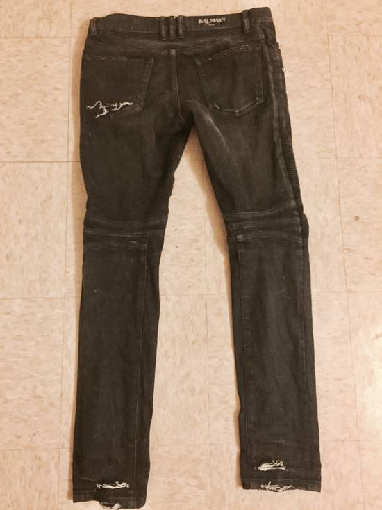 Balmain Balmain Distressed Black Denim Biker Jeans Size US 30 / EU 46 - 2