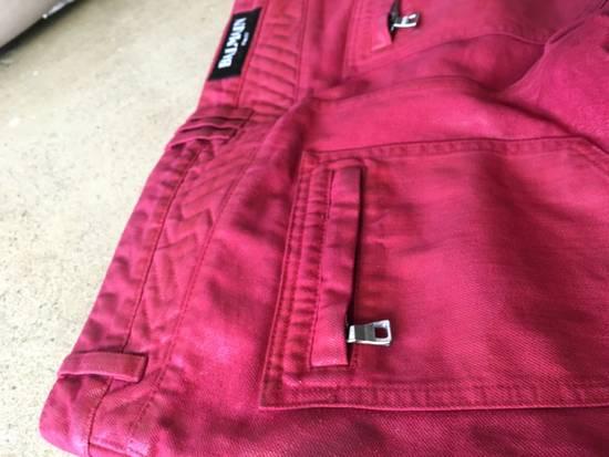Balmain Red Coated Balmain Biker Jeans Size US 33 - 3
