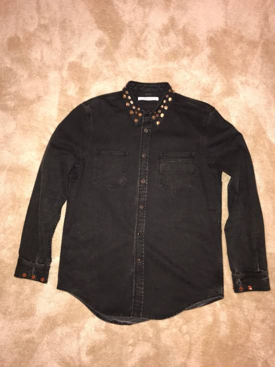 Givenchy Givenchy Black Denim Shirt With Brass Stud Detail Size US XL / EU 56 / 4