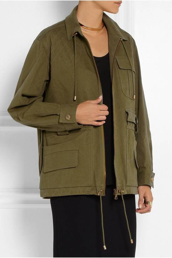 Balmain BALMAIN Pre14 army green stretch military zip up oversized jacket FR40 US8 UK12 Size US M / EU 48-50 / 2 - 4