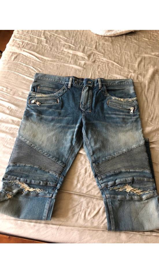Balmain Blue Distressed Biker Jeans Size US 38 / EU 54