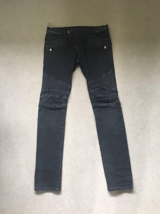 Balmain Black Skinny Biker Jeans Size US 32 / EU 48