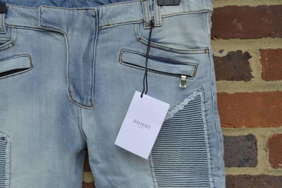 Balmain Balmain Blue Ribbed Biker Jeans Size US 31 - 6