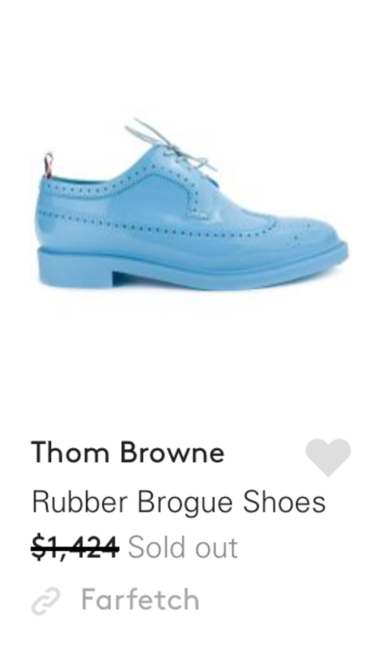 Thom Browne $1,424 patent rubber baby blue shoes Size US 9 / EU 42