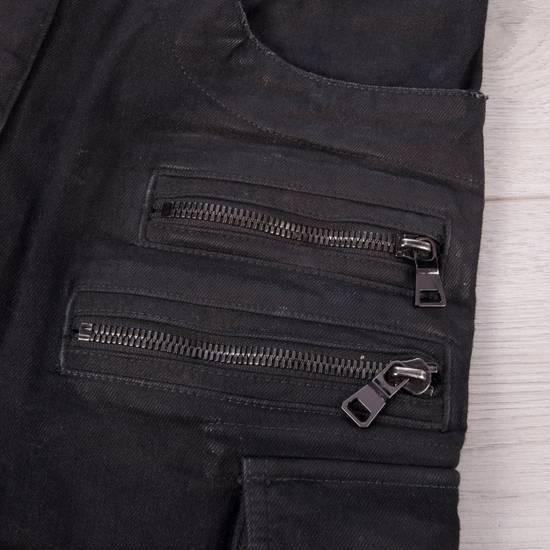 Balmain 1495$ Waxed Cargo Biker Jeans In Black Denim Size US 32 / EU 48 - 8