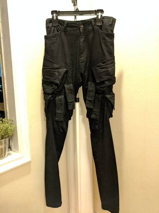 Julius Mint Archive Prism SS15 Runway Cargo Pants in black waxed stretch denim size 2 Size US 31