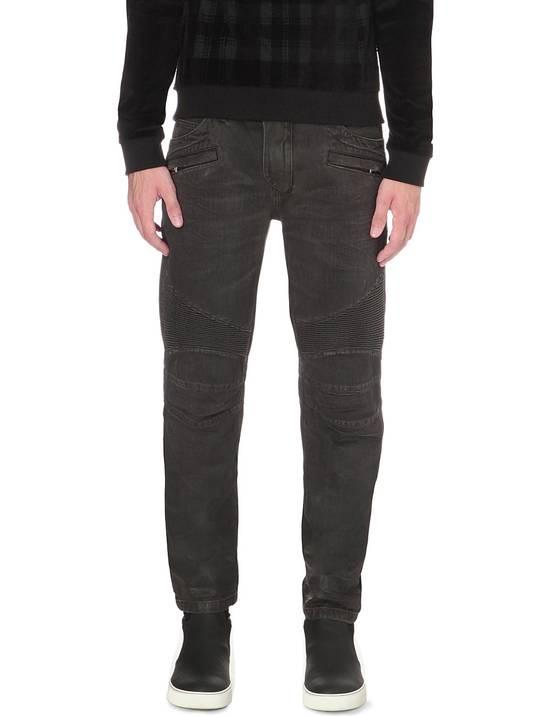 Balmain Black Waxed Biker Jeans Size US 31 - 1