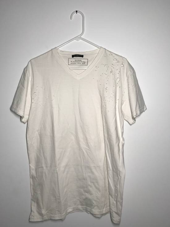 Balmain Balmain Short Sleeve Distressed V-neck Tee Size US L / EU 52-54 / 3