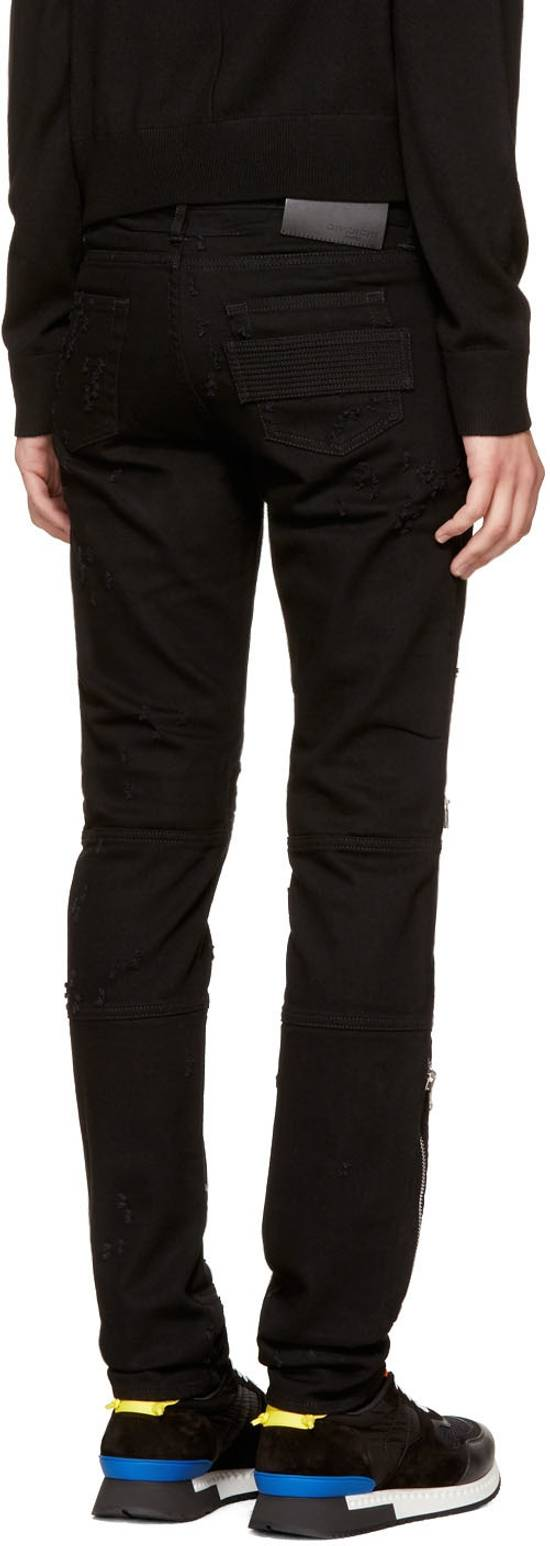 Givenchy Distressed Denim Biker Skinny Jeans, Black Size US 34 / EU 50 - 3