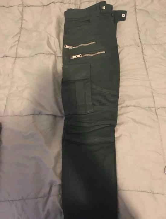 Balmain Green Cargo Zipper Pants Size US 30 / EU 46 - 1
