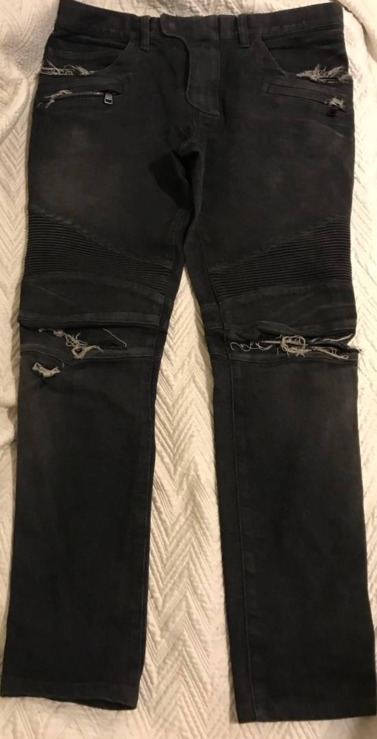 Balmain Distressed Slim Biker Jeans Size US 34 / EU 50 - 4