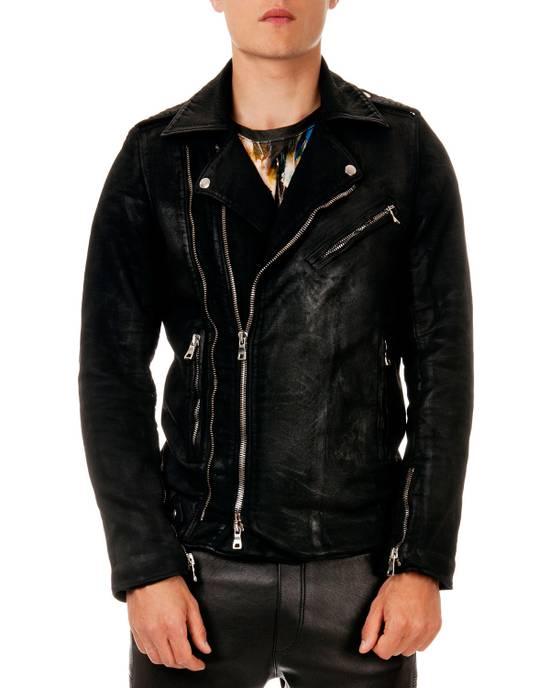 Balmain SS15 Waxed Cotton Biker Jacket Size US XL / EU 56 / 4