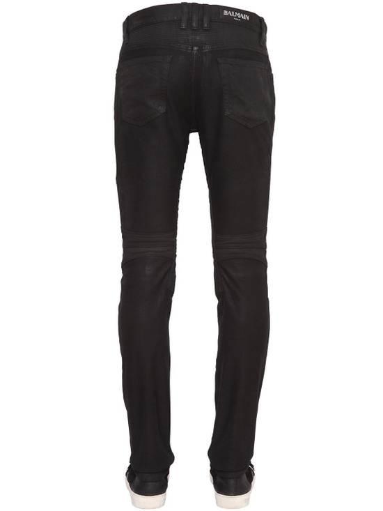 Balmain Balmain Black Denim Coated Authentic Biker $1230 Jeans Size 31 New Size US 31 - 2
