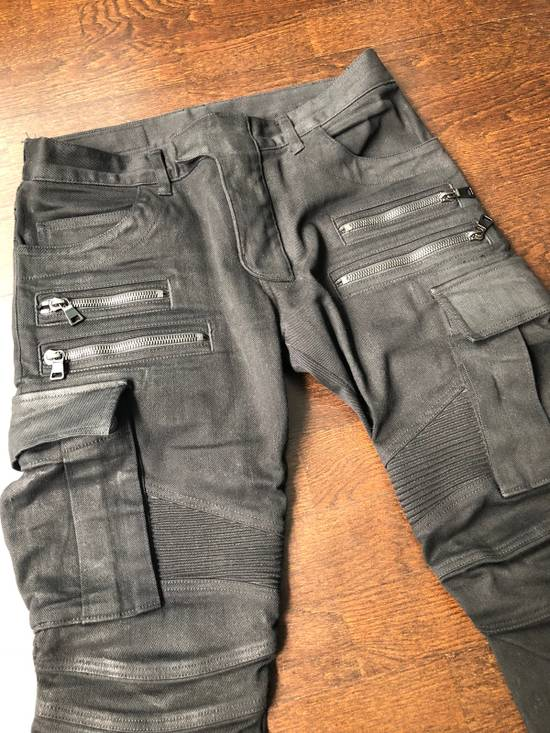 Balmain Black Waxed Bikerjeans Size US 31 - 1