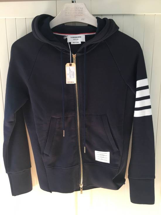 Thom Browne Navy Classic Hoodie w/Engineered 4-Bar Arm Stripe Size US S / EU 44-46 / 1