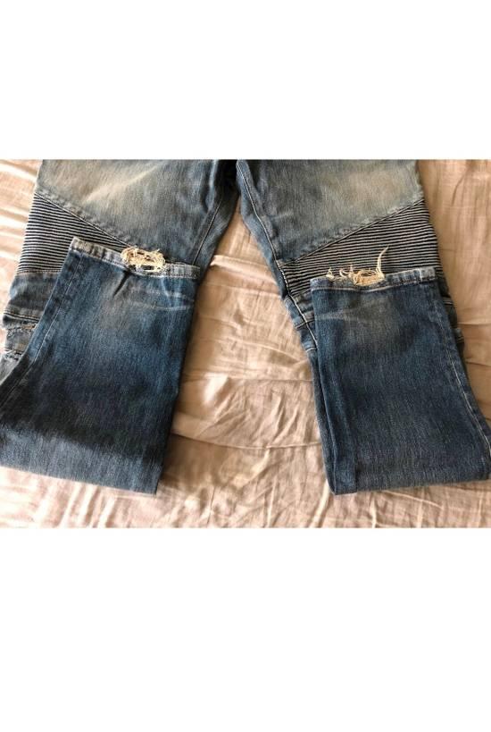Balmain Blue Distressed Biker Jeans Size US 38 / EU 54 - 2