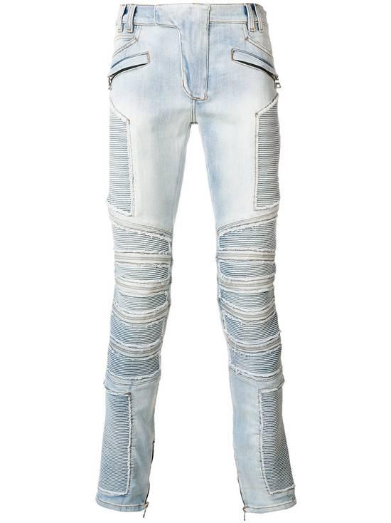 Balmain Balmain Blue Ribbed Biker Jeans Size US 31 - 1