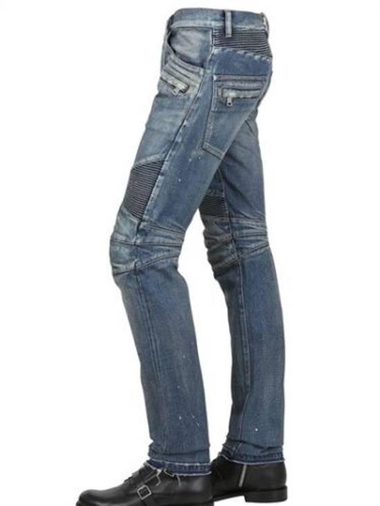 Balmain Balmain Painted Denim Blue Biker Authentic $1490 Jeans Size 27 Size US 27 - 1