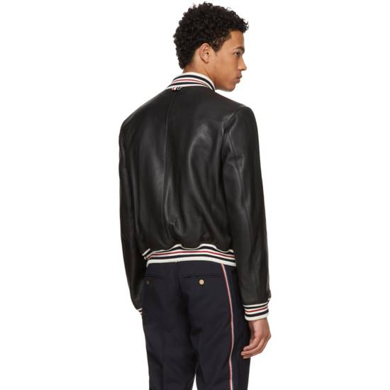 Thom Browne Black Leather Varsity Jacket (NEW W TAG) Size US XS / EU 42 / 0 - 8