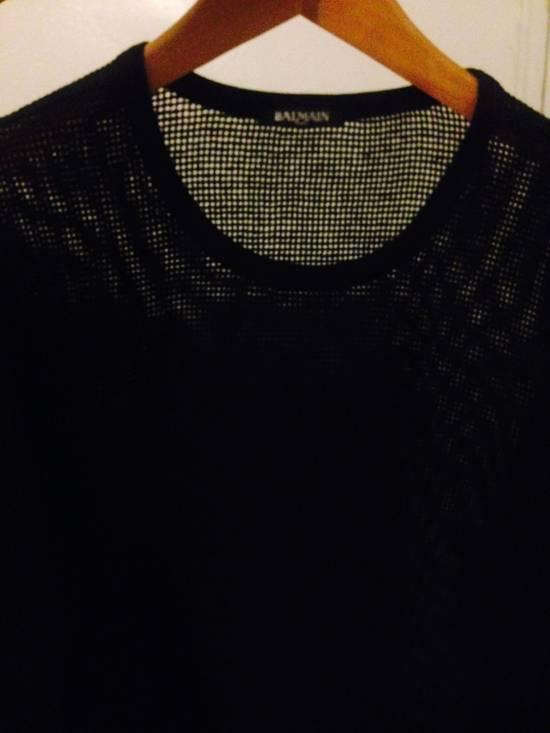 Balmain Balmain Black Mesh Cotton & Linen Long Sleeve Size US M / EU 48-50 / 2 - 3