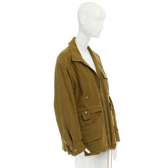 Balmain BALMAIN Pre14 army green stretch military zip up oversized jacket FR40 US8 UK12 Size US M / EU 48-50 / 2 - 4