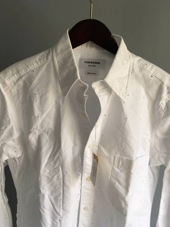 Thom Browne Button-Down Collar Embroidered Cotton Oxford Shirt, White Size3/Medium Brand New With Tags Size US M / EU 48-50 / 2 - 6