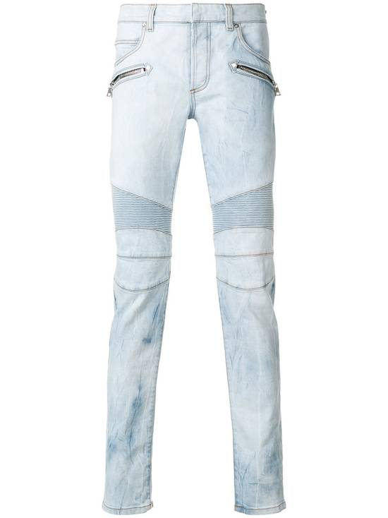 Balmain Light Blue Biker Jeans Size US 29 - 1