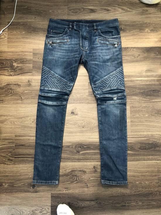 Balmain Geometric Biker Jeans Size US 31