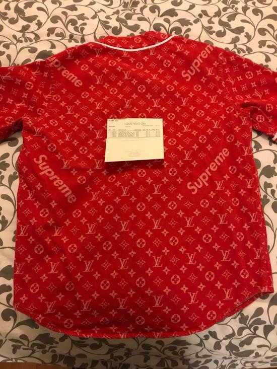 Supreme Louis Vuitton Supreme Red Denim Baseball Jersey Size US S / EU 44-46 / 1 - 9