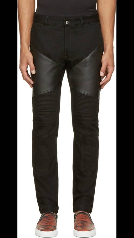 Givenchy Black Leather-patched Biker Jeans Size US 31