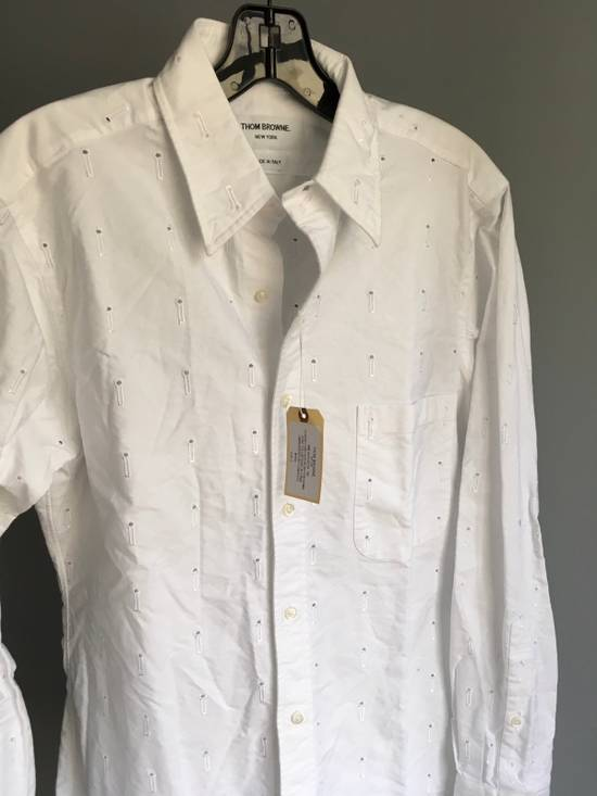 Thom Browne Button-Down Collar Embroidered Cotton Oxford Shirt, White Size3/Medium Brand New With Tags Size US M / EU 48-50 / 2