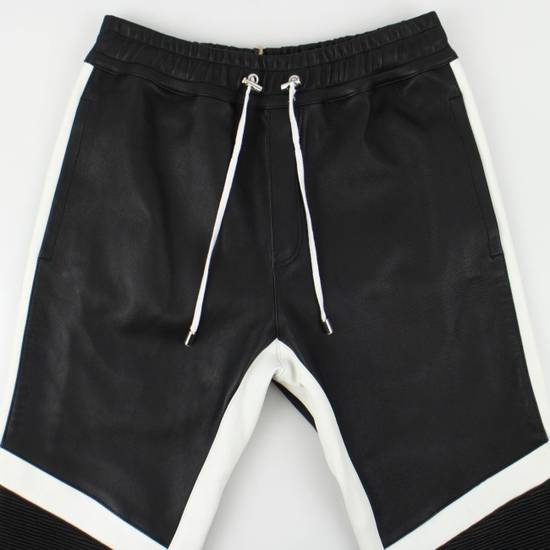 Balmain Black and White Contrast Leather Biker Pants Size XS Size US 30 / EU 46 - 3